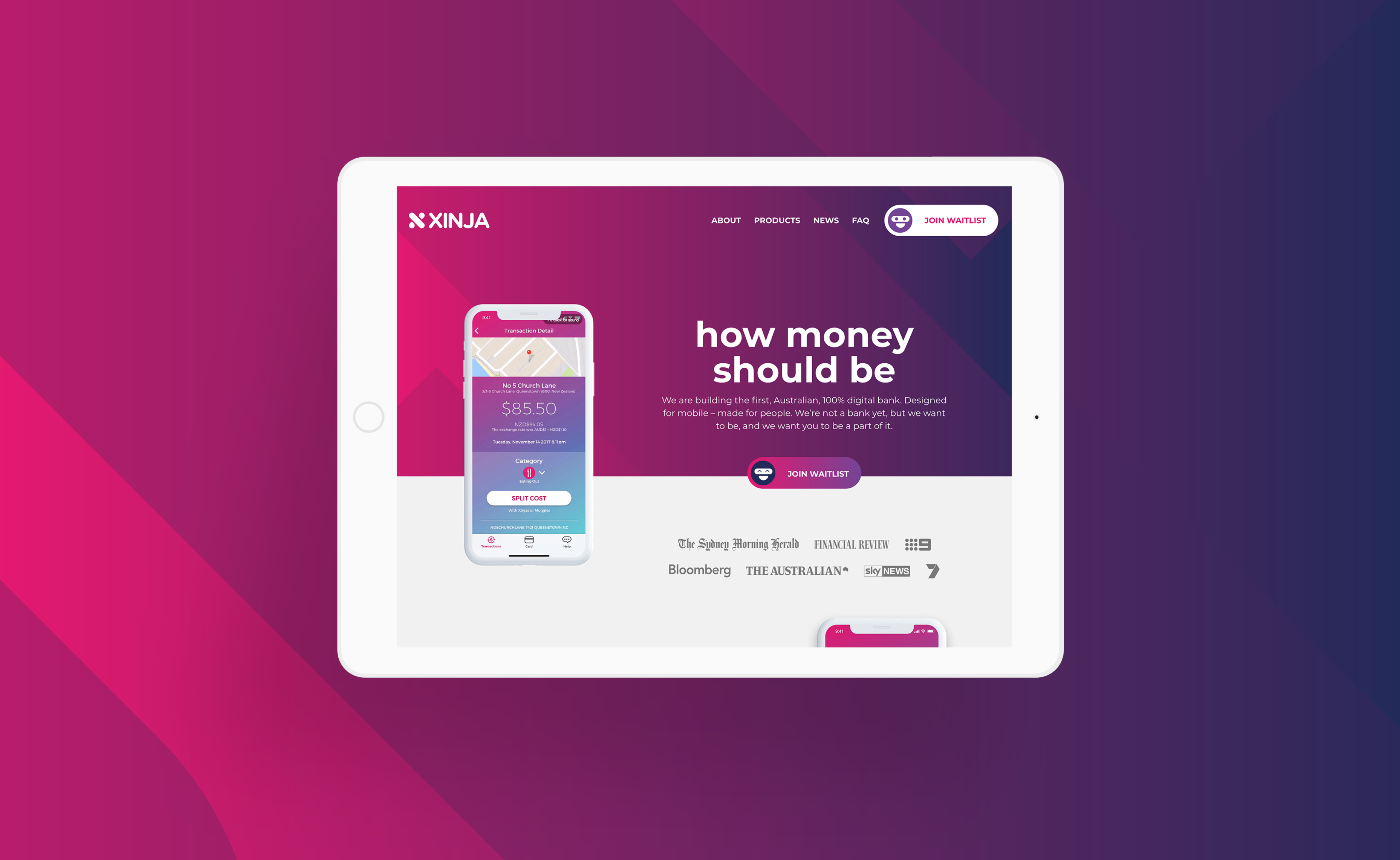 New Xinja website, by Squeeze Creative